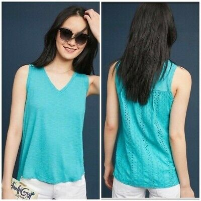 $ CDN47.86 • Buy New Anthropologie Lucie Eyelet-Back Turquoise Tank. Size XL