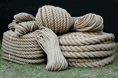 Natural Jute Hessian Rope Twine Braided Twisted Decking Garden Boat 6-60mm Thick • 0.99£