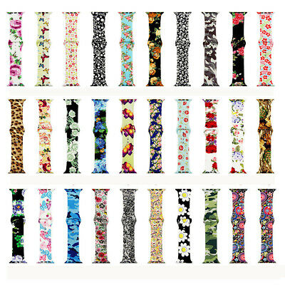 $ CDN11.38 • Buy Silicone Print Patterned  Sport Wristwatch Bands For Apple Watch Series 4 3 2 1