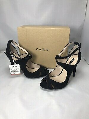 fb751eea323 Zara Womens High Heeled Strappy Sandals Black Sz 6.5 New With Tags And Box  • 49.95