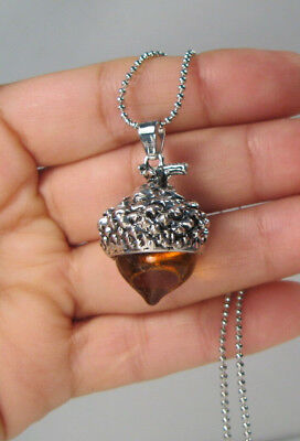 Ambar Glass Acorn Necklace Pendant Antique Silver With Long Chain  • 5.99$