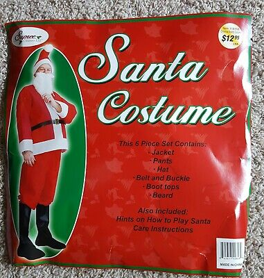 $21 • Buy Christmas Red Santa Claus Suit Costume One Size XL Fits Most Adults NIP
