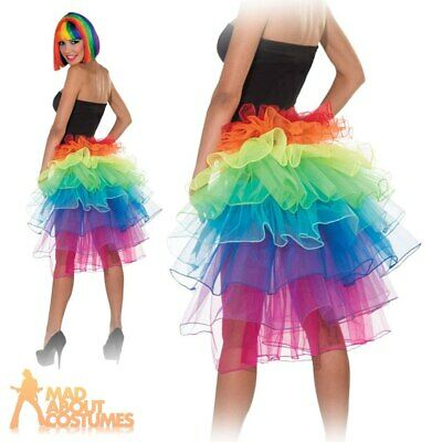 Adult Rainbow Bustle Skirt 80s UV Neon Pride Ladies Fancy Dress Outfit Accessory • 12.99£