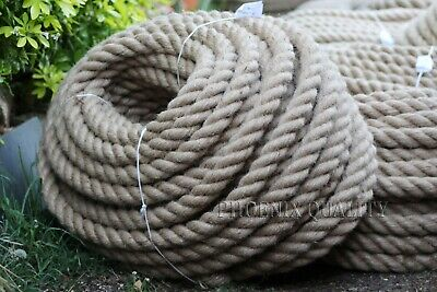 40mm Thick Natural Jute Hessian Rope Twine Braided Twisted Decking Boat Garden • 39.99£