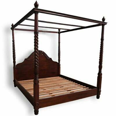 AU2530 • Buy Solid Mahogany Wood Colonial 4 Poster Bed Queen King Size Antique Style