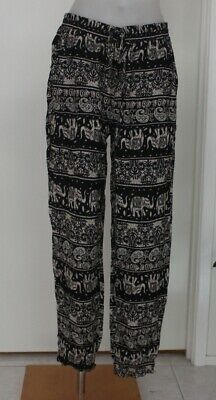 AU19.50 • Buy WOMEN HAREM HAPPY LOUNGE Elephant PANTS YOGA ELASTIC WAIST Size S L Navy Black