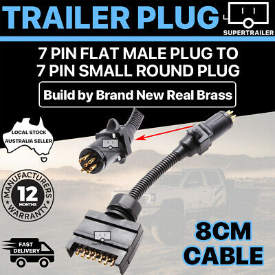 AU15.95 • Buy CAR TRAILER ADAPTER 7 PIN FLAT MALE PLUG TO 7 PIN SMALL ROUND PLUG 8cm Cable