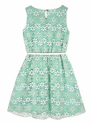 Yumi Girls Floral Lace Print Dress Age 7-8 Years BNWT RRP £42.95 Mint Green • 19.91£