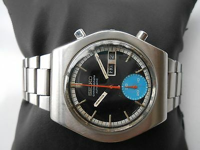 $ CDN402.23 • Buy Rare Vtg Ss Black Dial Seiko Chronograph 6139-8020 Mens Automatic Wristwatch