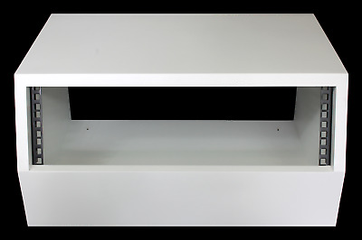 White 3u Angled 19  Inch Wooden Rack Unit/case/cabinet For Studio/DJ/recording • 74.50£
