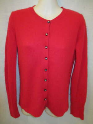 $13.45 • Buy 100% Cashmere Red Crew Neck Cardigan May Fit Small S