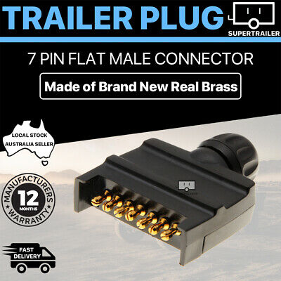 AU12.95 • Buy Black 7 Pin Flat Plug Male CONNECTOR Caravan Trailer Adapter Boat Quick Fit CAMP
