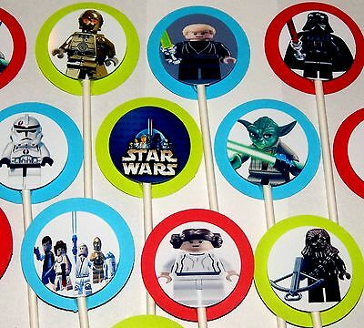 $12.98 • Buy 30 Compatible With LEGO STAR WARS  Cupcake Toppers Birthday Party Favors.