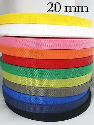 20mm Polypropylene Webbing Strapping Bag Weave Lead Tape Handle Belts 1-5 Meters • 3.30£