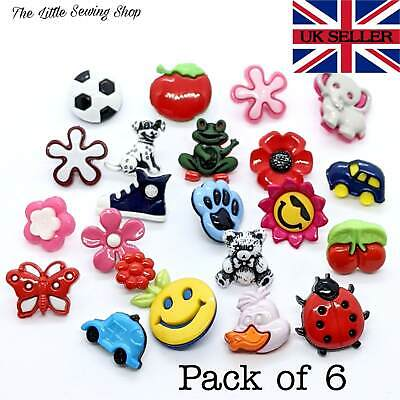 6 Kids Novelty Buttons Knitting Sewing Clothing Decoration Card Making • 2.55£