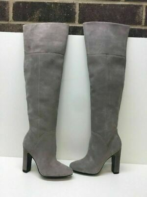 673a0a0a734 ALDO Gray Suede Side Zip Heeled Over The Knee Boots Women s Size 6.5 •  29.99