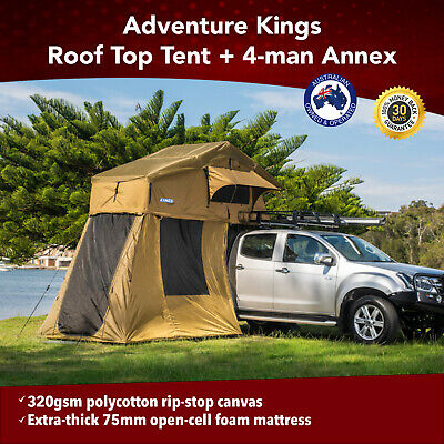 AU798 • Buy Premium Roof Top Tent With 4 Man Annex 4WD Offroad Trailer Camping Car Rack