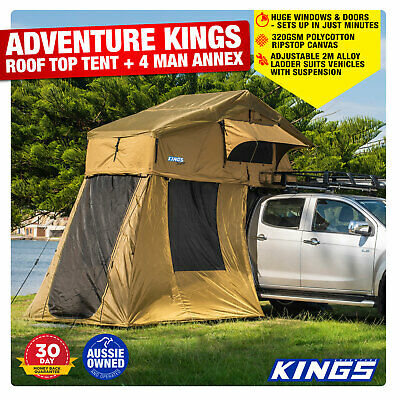 AU798.04 • Buy Camping Caravan Kings Outdoor Roof Top Tent With 4 Man Annex 4WD 4x4 Extension