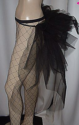 Burlesque Tail Bustle Train Black Dancers Bustle Belt  Gothic Size  6-28 • 13.50£