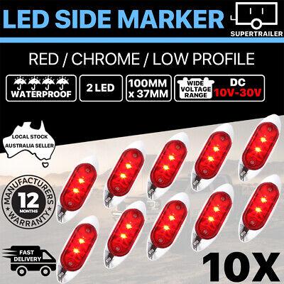 AU39.95 • Buy 10X 10-30V Red Clearance Light Side Marker Led Trailer Truck LORRY LAMP Chrome
