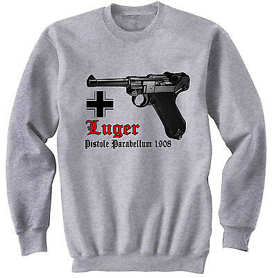Luger P08 Germany Wwii - New Grey Cotton Sweatshirt • 25.99£