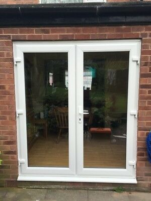WHITE UPVC FRENCH/PATIO DOORS WITH GLASS 1200mm X 2100mm ANY SIZE FREE DELIVERY • 390£