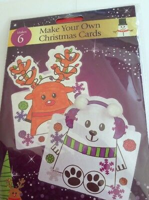 6 X Make You Own Christmas Cards  Childrens Craft Kit • 2.69£