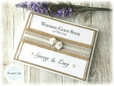 Rustic Handmade Personalised Wedding Guest Book Vintage Rose Lace Ribbon+ Box • 15.99£