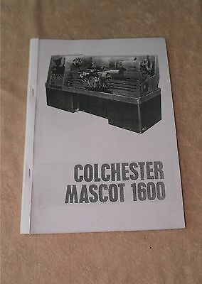 Colchester Mascot 1600 Manual  (Worldwide Shipping) • 10.50£