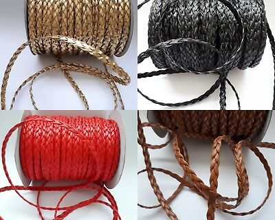 £2.95 • Buy 2 Meters (78 ) Braided Flat Faux Leather Cord 6mm 3ply String Thong Jewellery