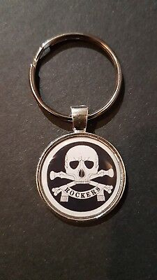 ROCKERS ! DEATH OR GLORY SKULL BIKER Greaser Ton Up Boys QUALITY  METAL KEY RING • 2.99£