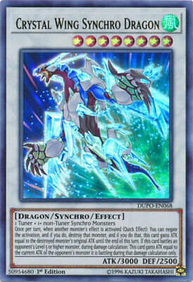AU4.99 • Buy Yugioh Card - Crystal Wing Synchro Dragon *Ultra Rare* DUPO-EN068 (NM/M)