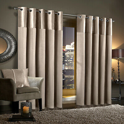 GRAN RENO Mink Crushed Velvet Curtains PAIR Eyelet Ring Top Fully Lined • 37.99£