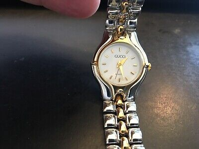 5b381d5cd9a Ladies Gucci Two Tone Quartz Watch With Link Band And White Face • 99.00