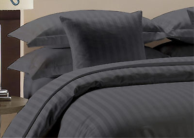 1000 Thread Count New Egyptian Cotton UK Bedding Sets UK Sizes Dark Grey Striped • 52.03£