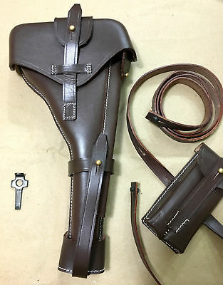 Luger P-08 8  Inch Artillery Holster W. Stock Straps BROWN LEATHER Takedown • 59.99£