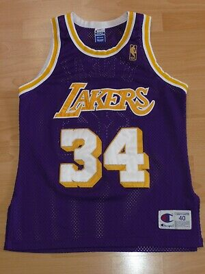 5f649d475 LA Lakers Shaquille O Neal NBA AUTHENTIC Basketball Trikot Champion S M  Jersey • 159.99€