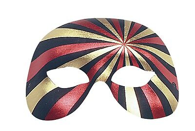 Venetian Masquerade Mens Quality Red, Gold & Jet Black Harlequin Eye Party Mask  • 3.99£