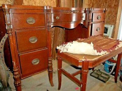 $100 • Buy Antique Mahogany Vanity And Matching Stool Made By White Brothers Furniture Co.