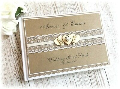 Rustic Vintage Handmade Personalised Wedding Guest Book Wooden Heart Rose & Lace • 18.99£