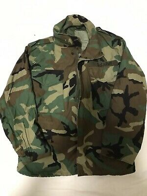 $34.99 • Buy Genuine US Military Woodland Camoflauge M65 Field Jacket SXS Used Excellent