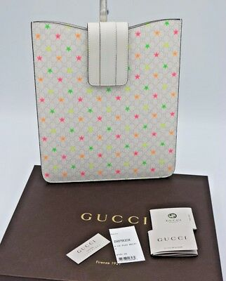 1c9fa7944e6 NIB Gucci Micro GG Supreme White Canvas Stars IPad Sleeve Case New - ( 325)