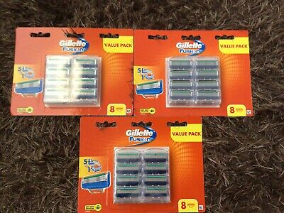AU77 • Buy Gillette Fusion Razor 24 Blades ( 3 X 8 Pack ) New & Sealed Made In Germany
