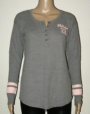 AU24.95 • Buy Abercrombie & Fitch HOLLISTER T-SHIRT Grey Oversize Logo Henley Top Size XS NWT