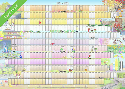 Illustrated Wall Planner 2019-2020 Academic Laminated (A2 Size) Calendar • 9.99£