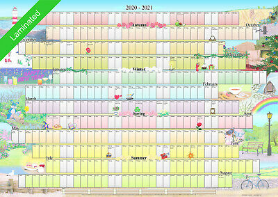 £9.99 • Buy Illustrated Wall Planner 2020-2021 Academic Laminated (A2 Size) Calendar