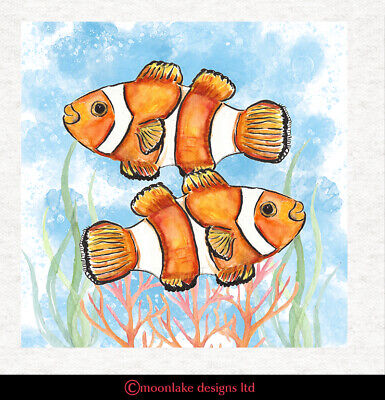 Animal - Clown Fish Fabric Craft Panels In 100% Cotton Or Polyester • 2.45£