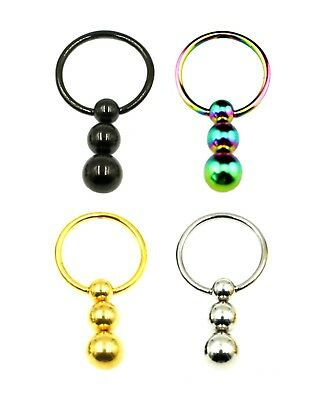 CAPTIVE RING 3 BALL DROP Closure Surgical Steel Bead Dangle Ear Belly Piercing • 2.23£