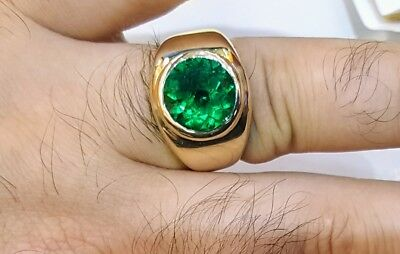 $14500 • Buy Gorgeous 14k Yellow Gold Mens Ring Natural Green Colombian Emerald 4.02ct.