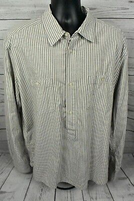 LOGG Label Of Graded Goods H&M Brown Striped Long Sleeve Button Down Mens Sz XL • 14.99$